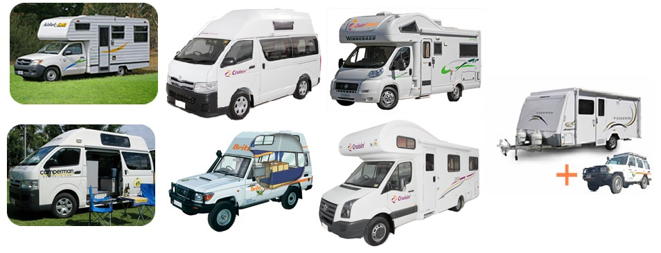 Choice of Campervan Hire from 2 berth upto 6 berth including 4WD Rentals